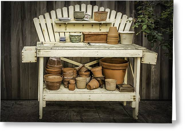 Potting Bench Greeting Cards - The Gardeners Potting Table Greeting Card by Jan and Burt Williams