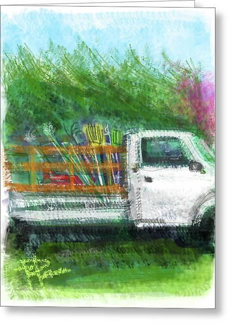 Rake Digital Art Greeting Cards - The Gardeners Truck Greeting Card by Russell Pierce