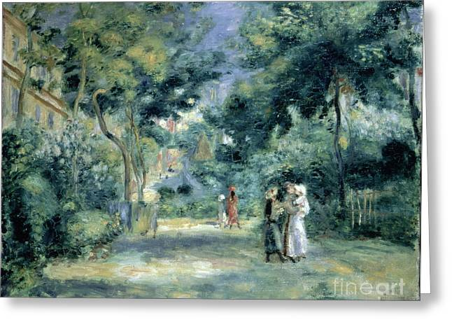 Tree Lined Greeting Cards - The Gardens in Montmartre Greeting Card by Pierre Auguste Renoir