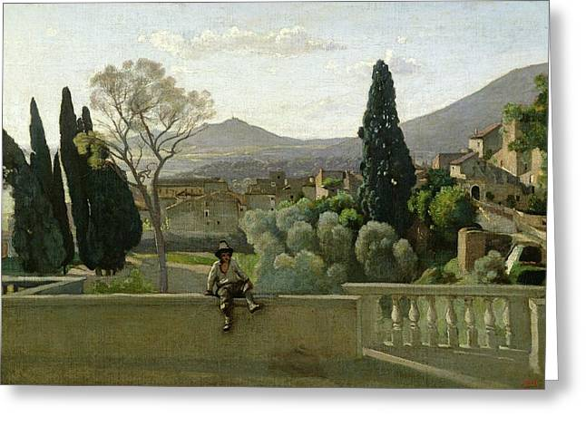 Corot; Jean Baptiste Camille (1796-1875) Greeting Cards - The Gardens of the Villa dEste Greeting Card by Jean Baptiste Camill  Corot