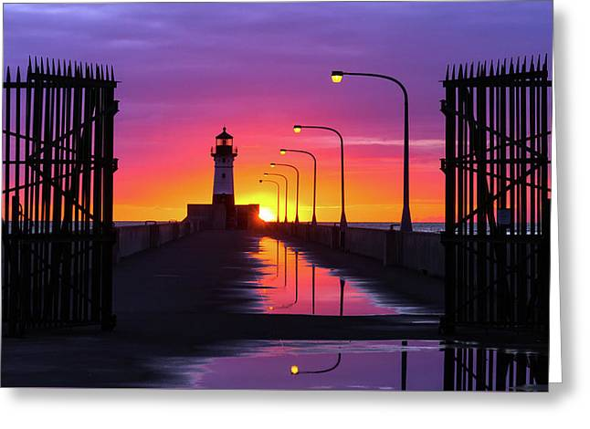 The Gates Of Dawn Greeting Card by Mary Amerman