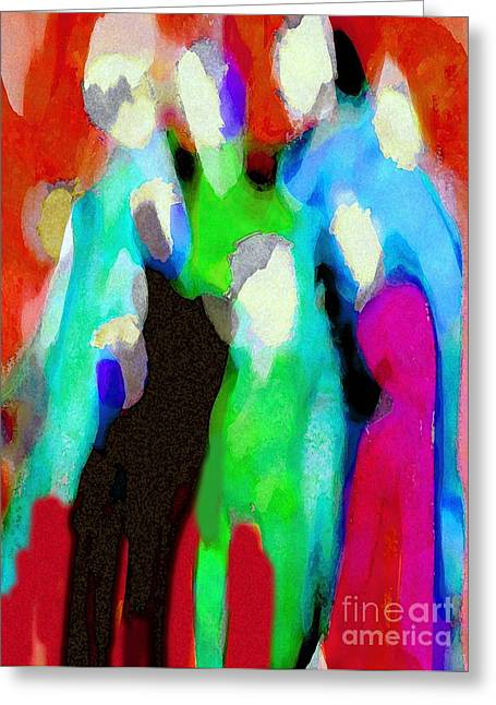 Family Walks Mixed Media Greeting Cards - The Gathering 2 Greeting Card by Mimo Krouzian