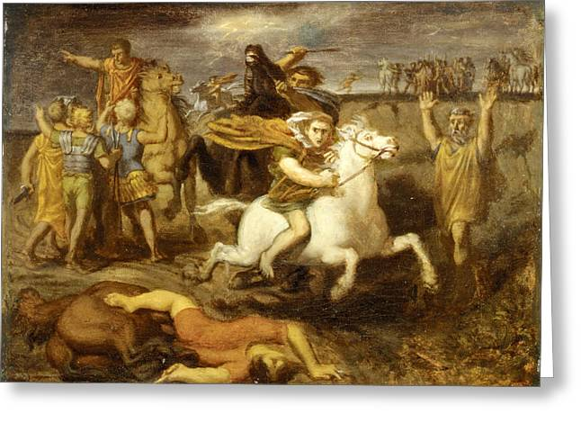 Theodore Chasseriau Greeting Cards - The Gaul Littavicus  Betraying the Roman Cause Flees to Gergovie to Support Vercingetorix Greeting Card by Theodore Chasseriau