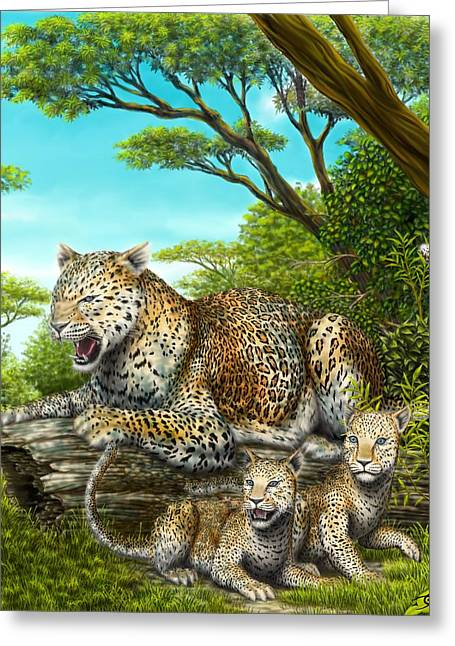 Growling Greeting Cards - The Gaurdian Greeting Card by Dale Crossley