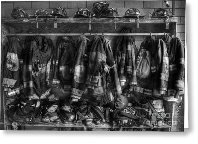 Reflective Greeting Cards - The Gear of Heroes - Firemen - Fire Station Greeting Card by Lee Dos Santos