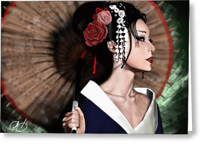 Japan Greeting Cards - The Geisha Greeting Card by Pete Tapang