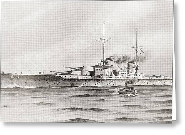 Wwi Greeting Cards - The German Battle Cruiser, Lutzow Greeting Card by Ken Welsh