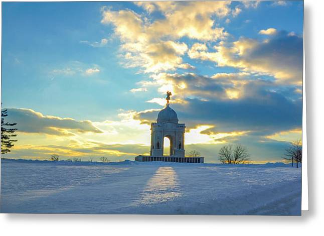 """battle Field"" Greeting Cards - The Gettysburg Memorial at Sunset Greeting Card by Bill Cannon"