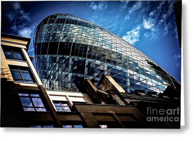 People Pyrography Greeting Cards - The Gherkin -London.  Greeting Card by Cyril Jayant