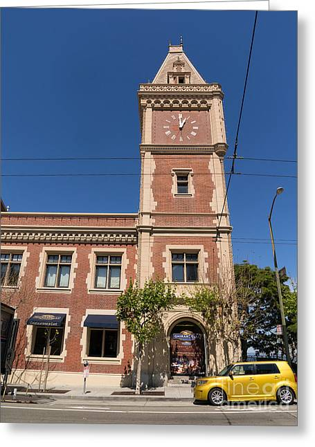 Ghirardelli Chocolate Greeting Cards - The Ghirardelli Chocolate Factory Clock Tower San Francisco California DSC3241 Greeting Card by Wingsdomain Art and Photography
