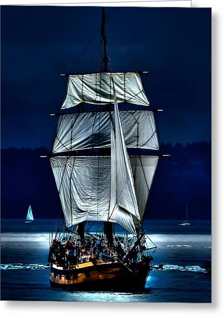 Pirate Ships Greeting Cards - The Ghost Ship Greeting Card by David Patterson