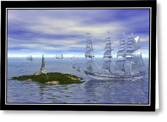 Best Sellers -  - Storm Prints Digital Art Greeting Cards - The Ghost Ships Greeting Card by William  Ballester