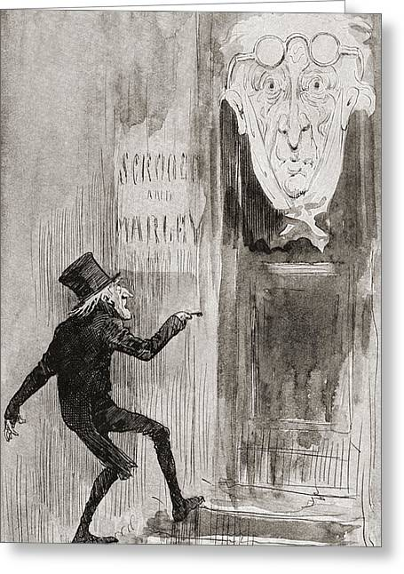 A Christmas Story Greeting Cards - The Ghostly Knocker. It Was Not Angry Greeting Card by Vintage Design Pics