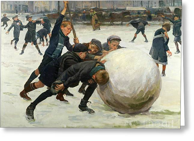 The Country School Greeting Cards - The Giant Snowball Greeting Card by Jean Mayne