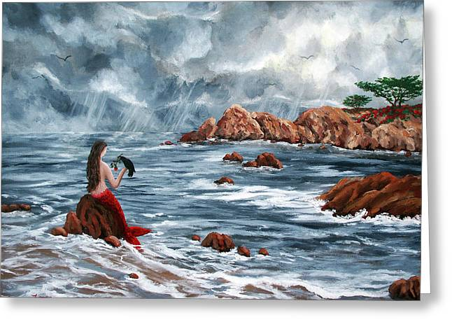 Pacific Grove Greeting Cards - The Gift of a Red Rose  Greeting Card by Laura Iverson