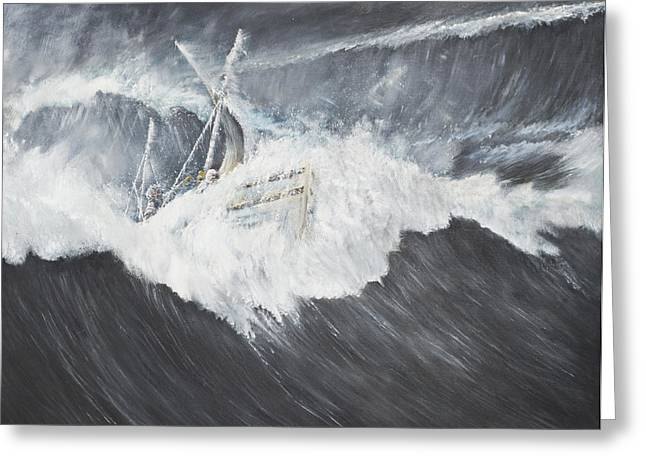 Ship-wreck Greeting Cards - The Gigantic Wave Greeting Card by Vincent Alexander Booth