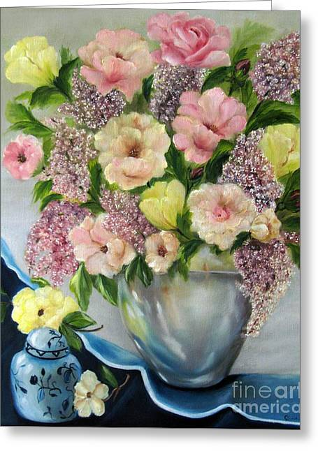 Lilac Tulip Flower Greeting Cards - The Ginger Jar Greeting Card by Carol Sweetwood
