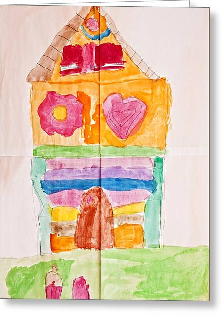 Kids Room Pastels Greeting Cards - The gingerbread cottage through childrens eyes Greeting Card by Pedro Cardona