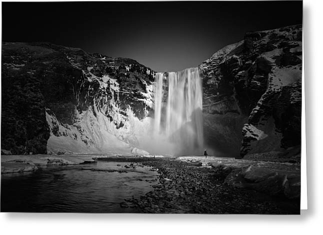 Dark Skies Pyrography Greeting Cards - The girl and Skogafoss Greeting Card by Juan Pablo De Miguel