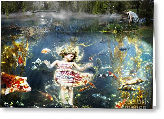 Merging Greeting Cards - Fantasy- The Girl In The Koi Pond Greeting Card by Feryal Faye Berber