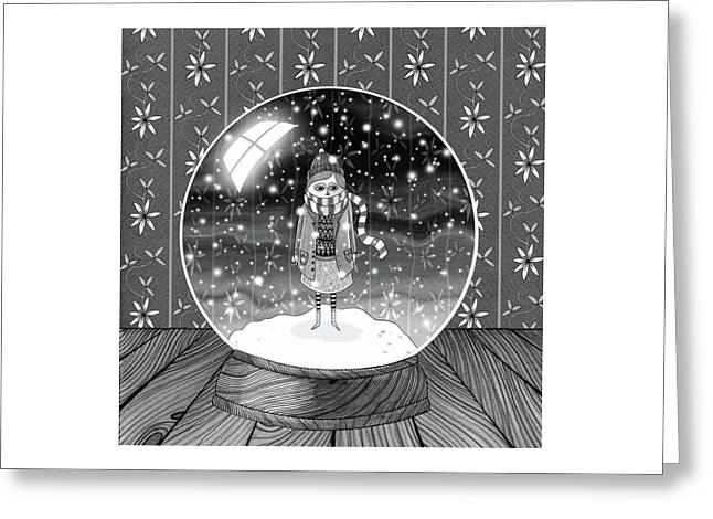 The Girl In The Snow Globe  Greeting Card by Andrew Hitchen