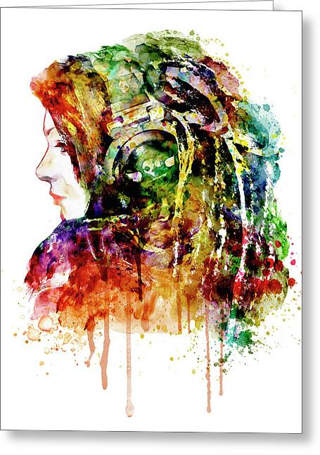 Fine Mixed Media Greeting Cards - The Girl is a DJ Greeting Card by Marian Voicu