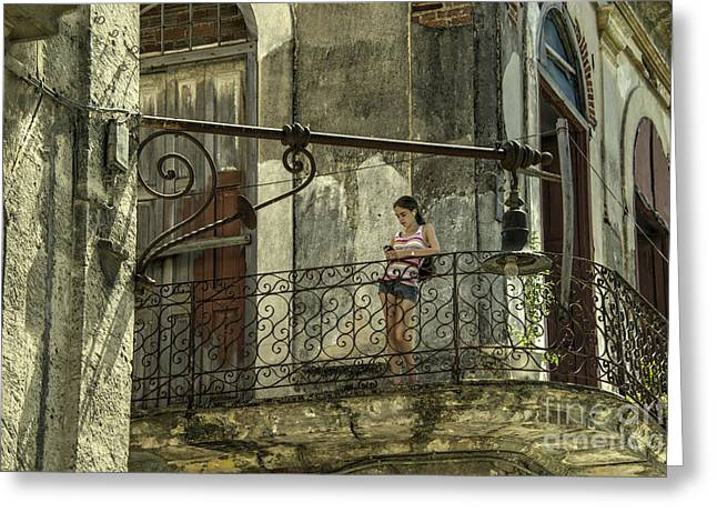 Colonial Building Greeting Cards - The Girl on the Balcony  Greeting Card by Rob Hawkins