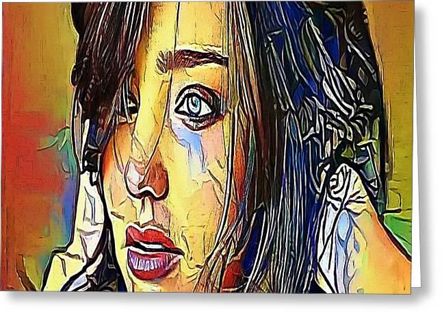 The Girl Tears- My Www Vikinek-art.com Greeting Card by Viktor Lebeda