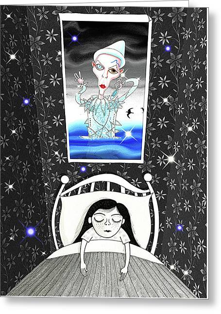 The Girl Who Dreamed Of David Bowie  Greeting Card by Andrew Hitchen