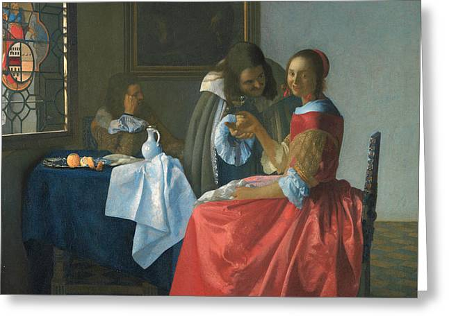 The Girl With A Wineglass Greeting Card by Jan Vermeer