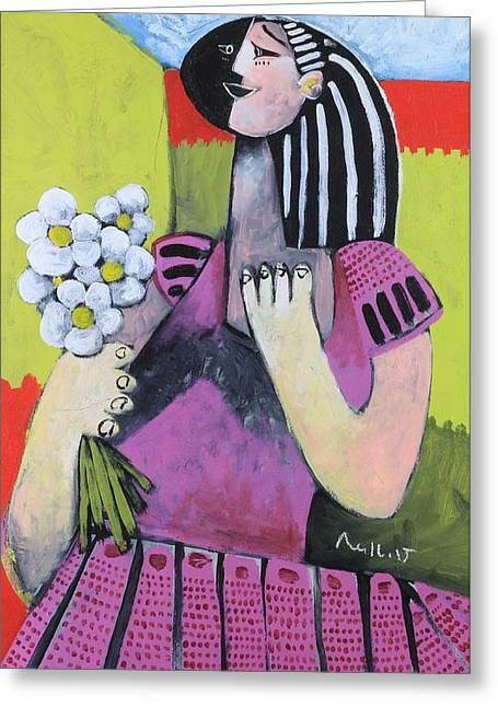 Outsider Art Mixed Media Greeting Cards - The Girl with Flowers Greeting Card by Mark M  Mellon