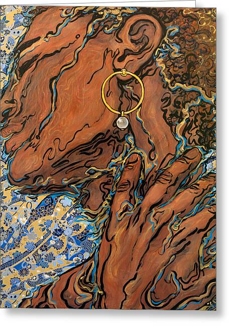 Gold Earrings Greeting Cards - The Girl with the Pearl Earring Greeting Card by A Ka