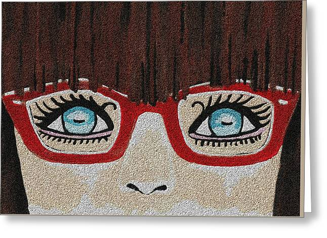 Marble Eye Mixed Media Greeting Cards - The Girl With The Red Glasses Greeting Card by Kathleen Sartoris