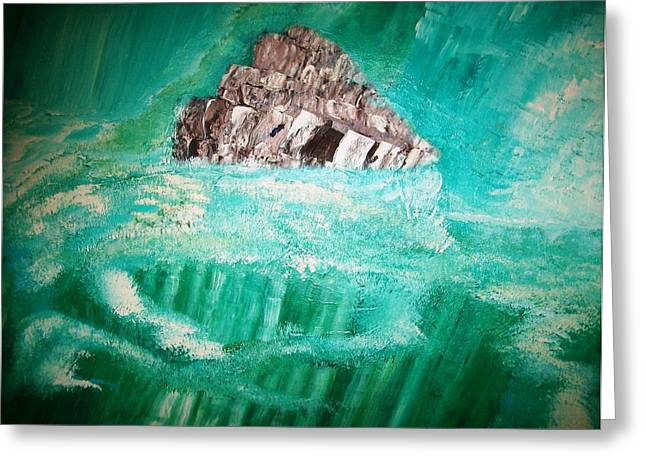Abstract Seascape Pastels Greeting Cards - The Glacier Greeting Card by Roy Penny