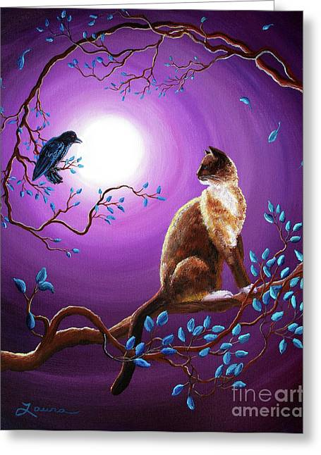 Surreal Cat Landscape Greeting Cards - The Glance Greeting Card by Laura Iverson