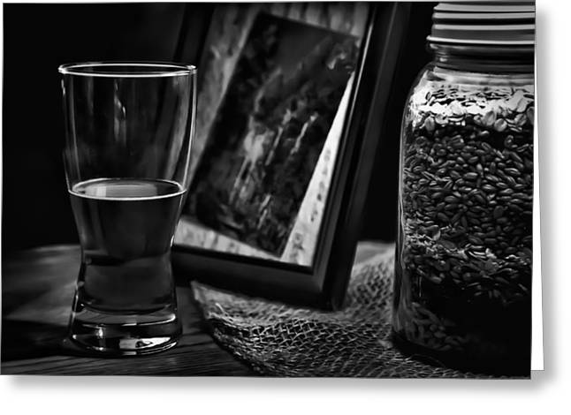 Booze Greeting Cards - The Glass is Half Full Greeting Card by David Patterson
