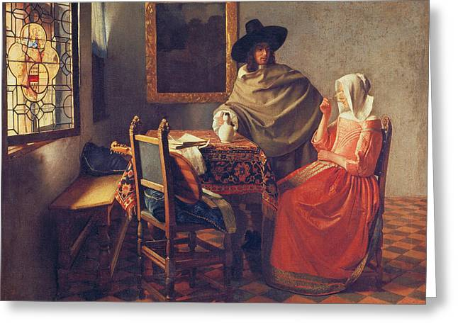 Vermeer Paintings Greeting Cards - The Glass of Wine Greeting Card by Jan Vermeer