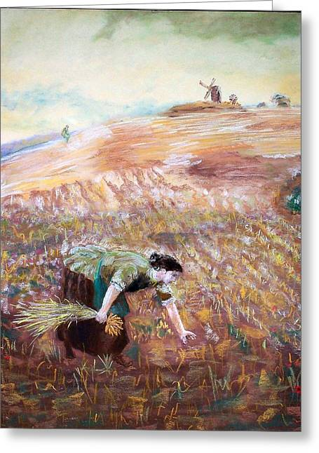 Field. Cloud Pastels Greeting Cards - The Gleaner Greeting Card by Jack Spath