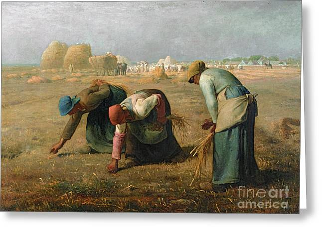Woman Canvas Greeting Cards - The Gleaners Greeting Card by Jean Francois Millet