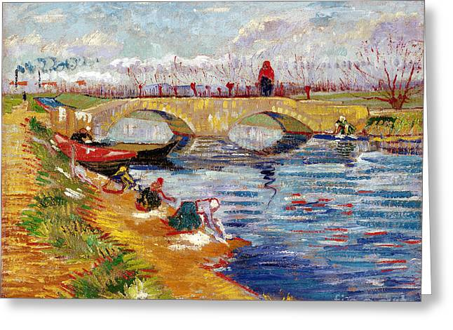 Vangogh Paintings Greeting Cards - The Gleize Bridge over the Vigneyret Canal  Greeting Card by Vincent van Gogh