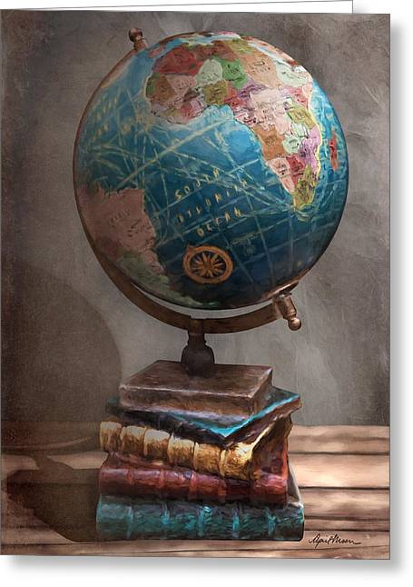 The Globe Greeting Card by April Moen