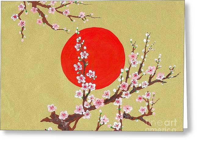 The Glory Morning Sakura Greeting Card by Renu Martin