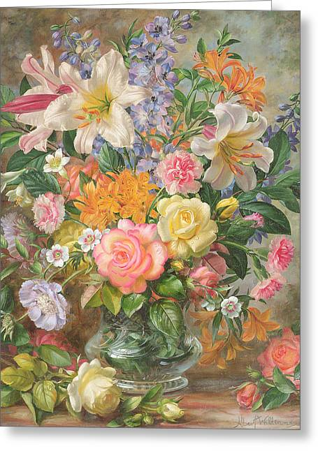 Vase Of Flowers Greeting Cards - The Glory of Summertime Greeting Card by Albert Williams