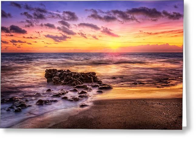The Glow Of Dawn Greeting Card by Debra and Dave Vanderlaan