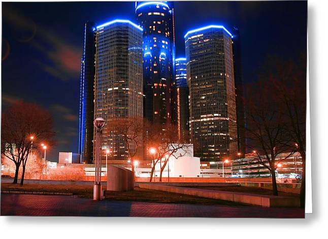 Renaissance Center Greeting Cards - The GM Renaissance Center At Night From Hart Plaza Detroit Michigan Greeting Card by Gordon Dean II
