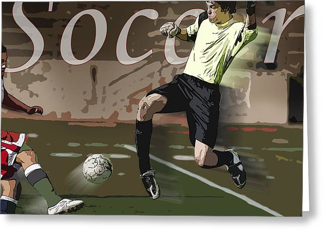 Goalkeeper Greeting Cards - The Goalkeeper Greeting Card by Kelley King