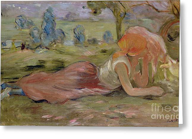 Berthe (1841-95) Greeting Cards - The Goatherd Greeting Card by Berthe Morisot