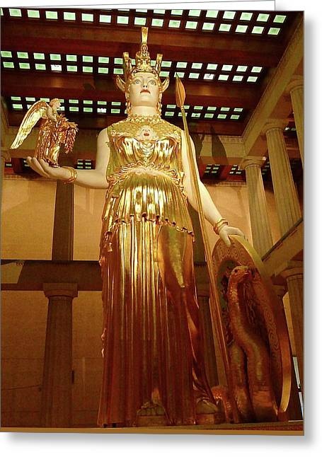 The Goddess Athena Greeting Card by Denise Mazzocco