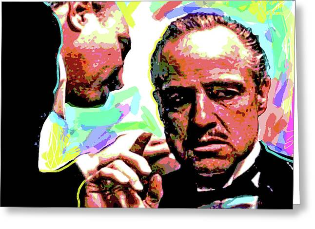 Character Portraits Greeting Cards - The Godfather - Marlon Brando Greeting Card by David Lloyd Glover