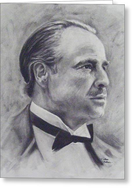 Vito Corleone Greeting Cards - The Godfather Greeting Card by Cynthia Campbell